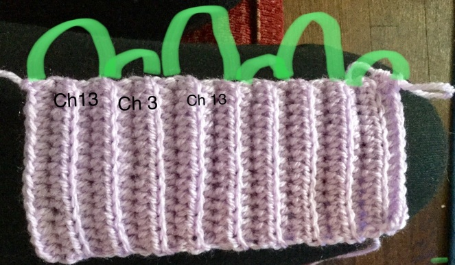 alternating ch 13 and ch 3 on ribbing band